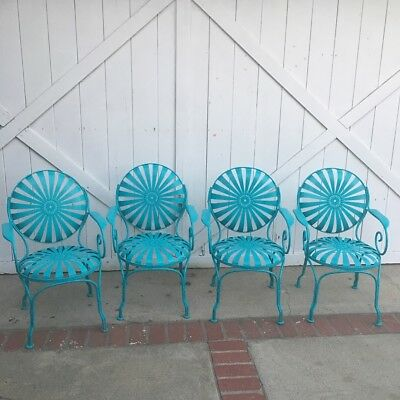 4 Francois Carre Style Vintage Pinwheel Chairs