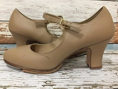 Capezio Womens Sz 8 W Leather Tan Tap Shoes