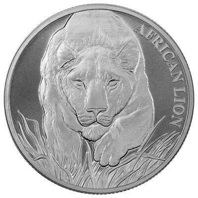 2017 1 oz Republic of Chad 999 Fine Silver African Lion Coin with COA
