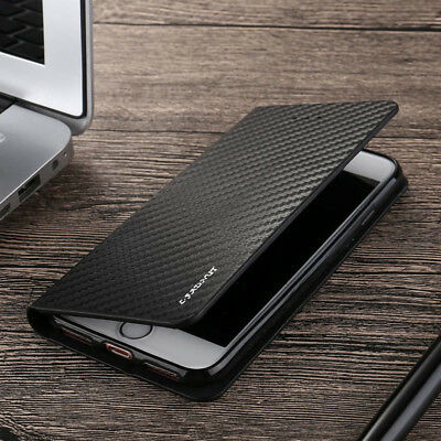 Shockproof Magnetic Carbon Leather Slim Wallet Flip Case Cover For Various Phone