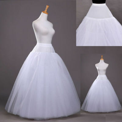 Long White 3 Layers NO Hoop Petticoat Underskirt Bridal Slips Party Skirt Tulle