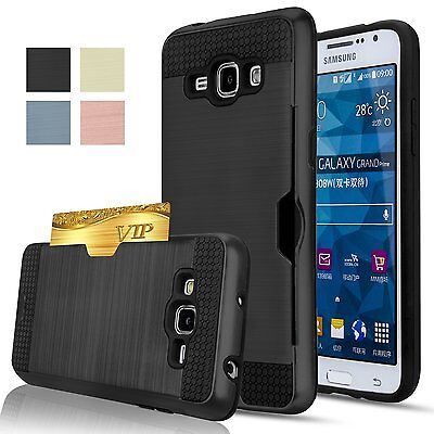 Brushed Card Holder Armor Hybrid Cover Case For Samsung S 9 8 A 7 6 J 5 Note 4 3