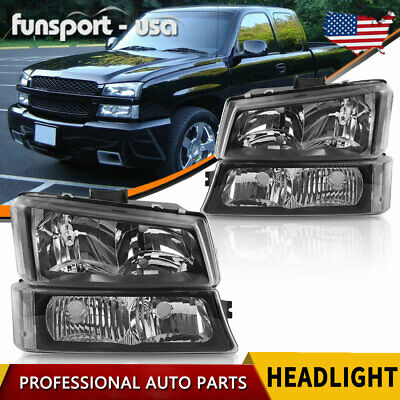 for 2003 2004 Chevy Silverado 1500 Avalanche Headlights Headlamps + Bumper Lamps