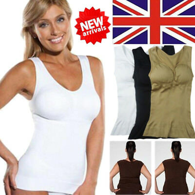 UK Women Slimming Tank Top Cami Body Shaper Tummy Control Shapewear Vest Shirts