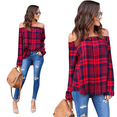 2Colors Ladies Cotton Plaid Strapless Soft Blouse Tops Casual Long Sleeve Tee