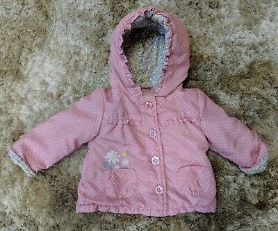 George Girls Baby 6-9 Months Pink White Spotter Floral Flower Hooded Coat Jacket