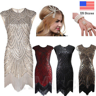 1920s Flapper Dresses Vintage Great Gatsby Sequins 20s Dress Evening Party Gowns