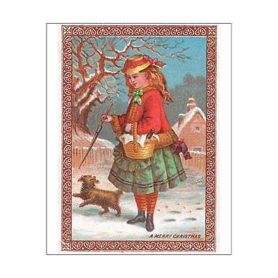 """10""""x8"""" (25x20cm) Print Girl and dog in the snow on a Christmas card"""