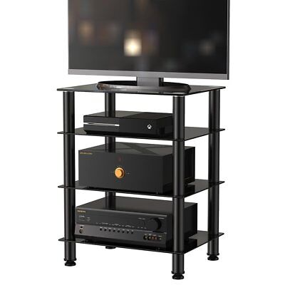 hifi rack tv turm regal st nder phonom bel aus metall hartglas schwarz eur 99 90 picclick de. Black Bedroom Furniture Sets. Home Design Ideas