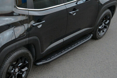 Black Aluminium Side Steps Bars Running Boards To Fit Jeep Renegade (2015+)