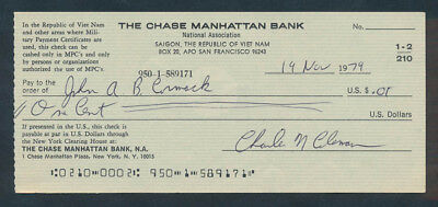 South Vietnam: USA 1970s Chase Manhattan Bank. RARE Cheque Payable in M.P.C.s