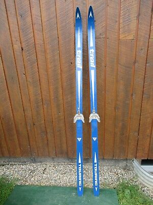 """GREAT OLD Vintage Wooden 70"""" Long Skis Signed TRAIL with Original BLUE  Finish"""
