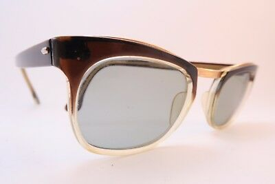 Vintage 50s sunglasses gold filled gradient acetate original glass lens France