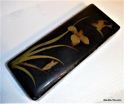 Vintage Hand-painted Lacquer Box - Bird and Irises