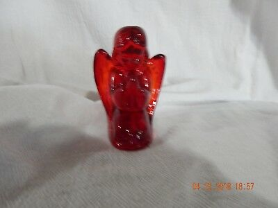 Praying Angel Figurine - Red Solid Glass - Pretty