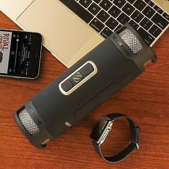 NEW! Scosche Boombottle+ Stereo Portable Speaker 24W Black Gold BTBPBKGDI