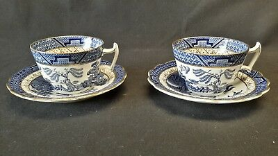 Booths Real Old Willow A8025 Set of 2 Cups & Saucers