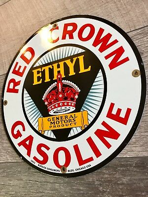"""Red Crown Etyhl Gasoline And Motor Oil Porcelain Gas Pump Plate Sign. 11.75"""". Gm"""