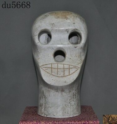 Old Chinese Liangzhu Culture White old jade carved Cranial skeleton head statue