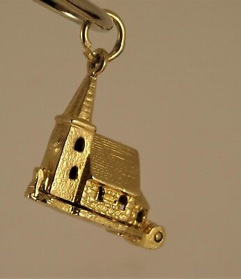 Vintage Opening 9ct Gold CHURCH WEDDING CHARM Pendant BRIDE GROOM 2.3g Hm
