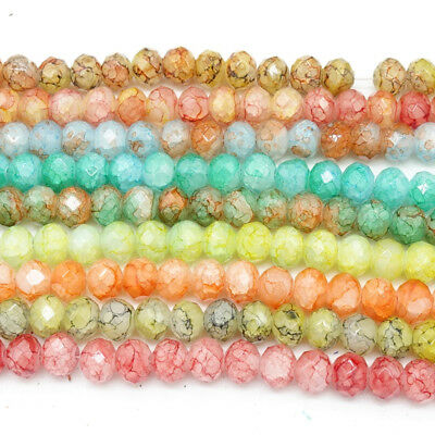 Wholesale new 80pcs Rondelle Faceted Crystal Glass Loose Spacer Beads 8X6mm
