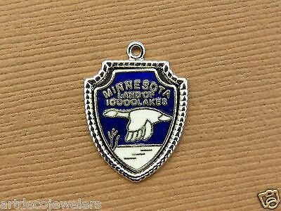 Vintage silver MINNESOTA STATE LAND OF 10000 LAKES TRAVEL SHIELD charm #1 E#9
