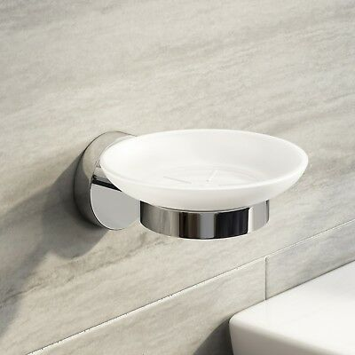 Round Soap Dish Holder Modern Ceramic Chrome Bathroom Accessories Wall Mounted