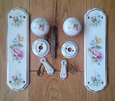 4 sets of Vintage ceramic door knobs and plates English Rose design. & 4 SETS OF Vintage ceramic door knobs and plates English Rose design ...