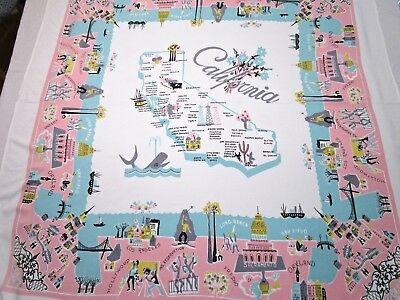 Vintage Tablecloth California Souvenir Hollywood Pink Aqua Blue Cal Hand Prints?