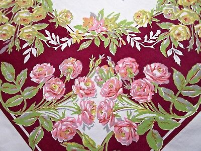 Vintage Tablecloth Rose Print Yellow Red Burgundy Green Queen Anne Square 52X54