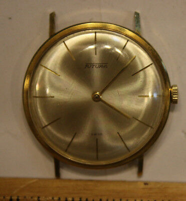 Vintage Men's Futura Swiss Made Wristwatch SOLID 14K Yellow Gold Case RUNS   JSH