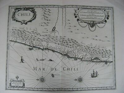 Large Original B/W Antique Map of Chile C1650 Janssonius J
