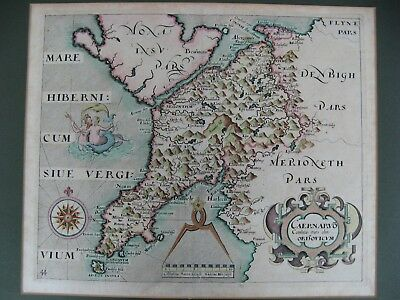 Original Hand Coloured Map Caernarvonshire Saxton & Hole C1630