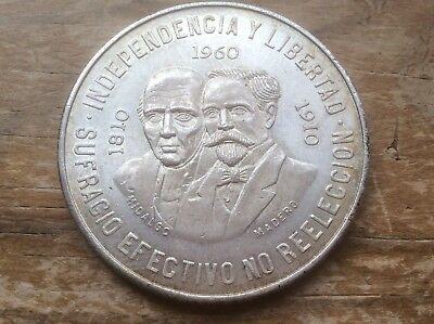 MEXICO 1960 100th REVOLUTION Anniversary .900 SILVER 10 PESOS -1 YEAR ONLY lot B