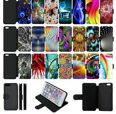 ABSTRACT PATTERN ART Wallet Flip Phone Case Cover iPhone 4 5 SE 6 7 8 X comp