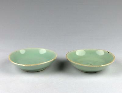 Fine Pair Antique 19thC Chinese Qing Seal Mark Celadon Porcelain Saucer Dishes