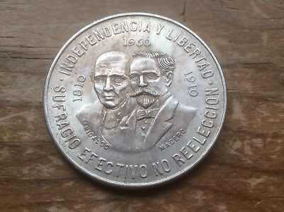 MEXICO 1960 100th REVOLUTION Anniversary .900 SILVER 10 PESOS -1 YEAR ONLY lot C
