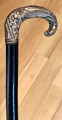 "Vintage Antique 19C Walking Stick Cane Gold Filled Handle Ebonized Wood Old 36""L"