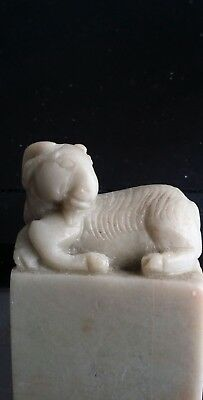 RAM...GOAT>>>Vintage carved soapstone seal stamp signed Mary