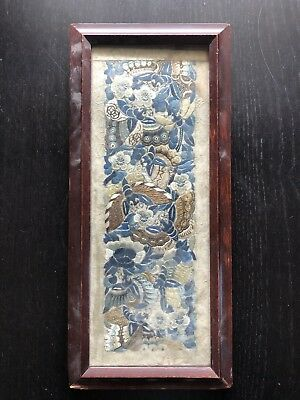 Antique 18th/19th C Chinese Silk Embroidered Butterfly Moth Sleeve Panel Art NR