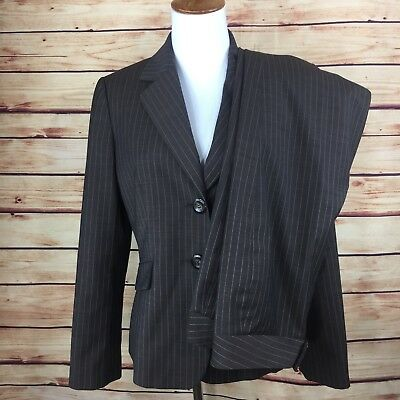 NEW Tahari Arthur S Levine Pant Suit 8P Blazer Jacket Brown Pinstripes 8 Petite