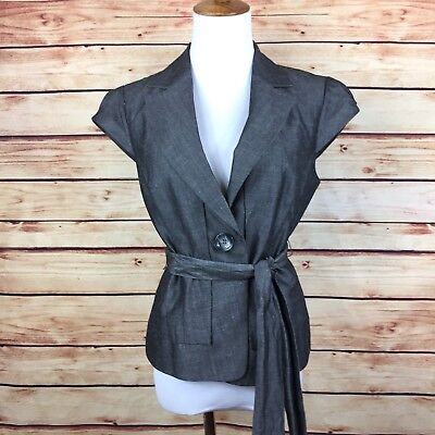 Ann Taylor Blazer Jacket Cap Sleeves Belted Tie Wrap Career Work Gray Chambray 2