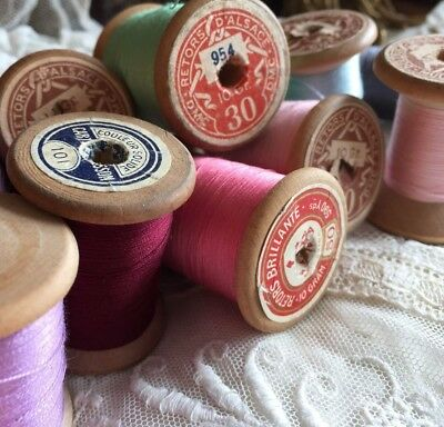 11 Gorgeous Antique French Wooden Spools Of Fine Cotton Threads Mercerie 1880
