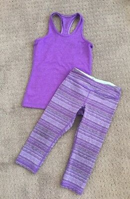 Ivivva Girls Lot Size 6 Lot Purple KeepurCool Racer Tank And Crops
