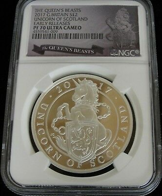 NGC PF70 Ultra Cameo 2017 Unicorn of Scotland Silver 2 Pounds The Queen's Beasts