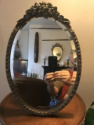Vintage 1930s Barbola Oval Bevelled Glass Mirror # Good Condition 39cm X 27cm