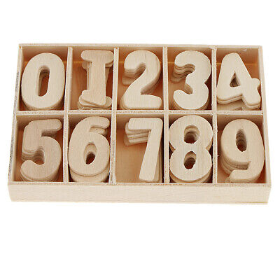 60X Natural Kids Fun Wooden Numbers Shape Craft Embellishments Learning Toys