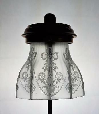Crystal Etched Inverted Gas Mantle Kerosene Oil Lamp Shade Tilley Table Fit