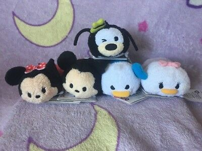 Disney Store/Parks US Tsum Tsum Plush Set Of 5 Mickey Minnie Donald Daisy Goofy