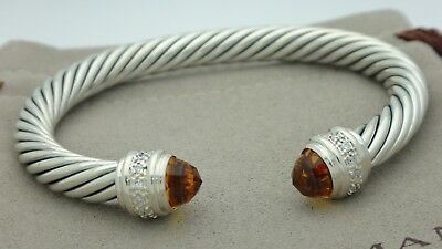 David Yurman Sterling Silver 7mm Cable Bracelet With Citrine and Diamonds